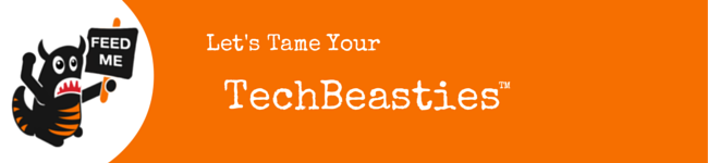 """Orange strip with Beastie Character and """"Tame Your TechBeasties"""" text"""