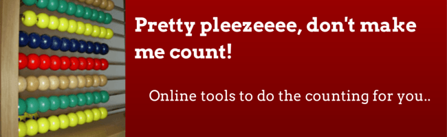 "Dark red banner with white text "" Online tools to do the counting for you"" and abacus"