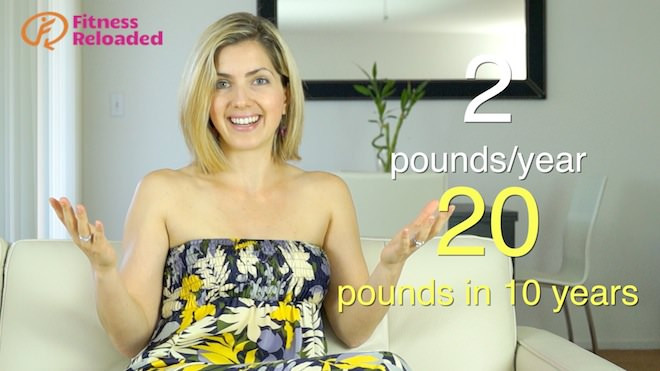 Lose 5 pounds without dieting and avoid the Cumulative Weight Gain Effect: E.g., Get 2 pounds every year for 10 years, and you're left with 20 pounds!