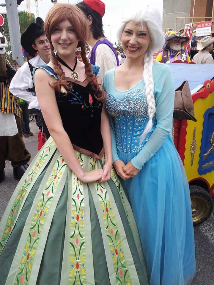 The ice Queen and her sister the Snow Princess at the Calgary Stampede Parade 2014