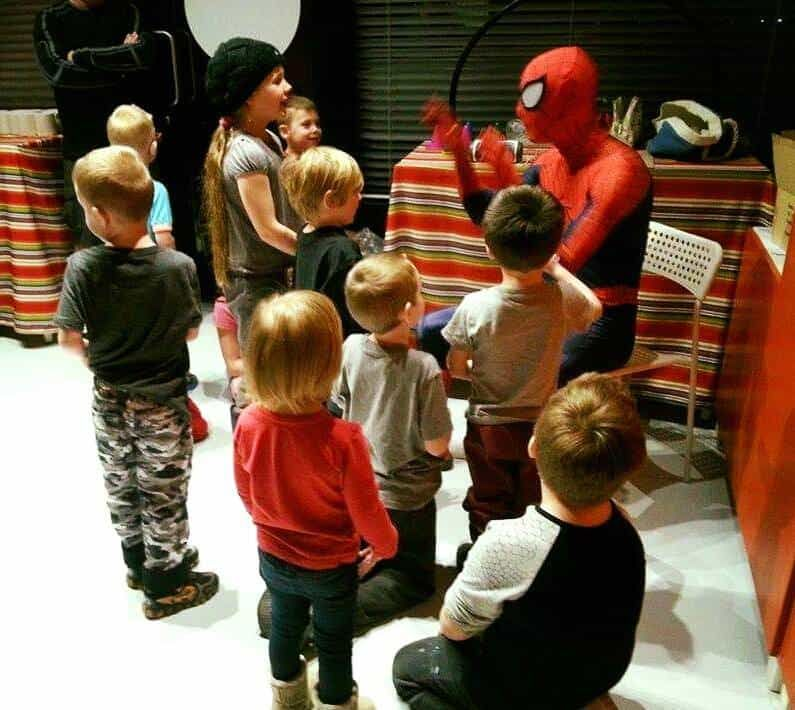 Fairy Tale Princess Party Calgary Spider Hero Man at Crock A Doodle Royal Oak explanation