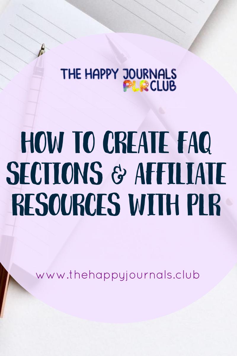 affiliate success, affiliate marketing secrets, faq section on website, repurposing plr content