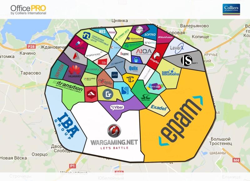 Мапа айцішных офісаў ад Colliers International Belarus