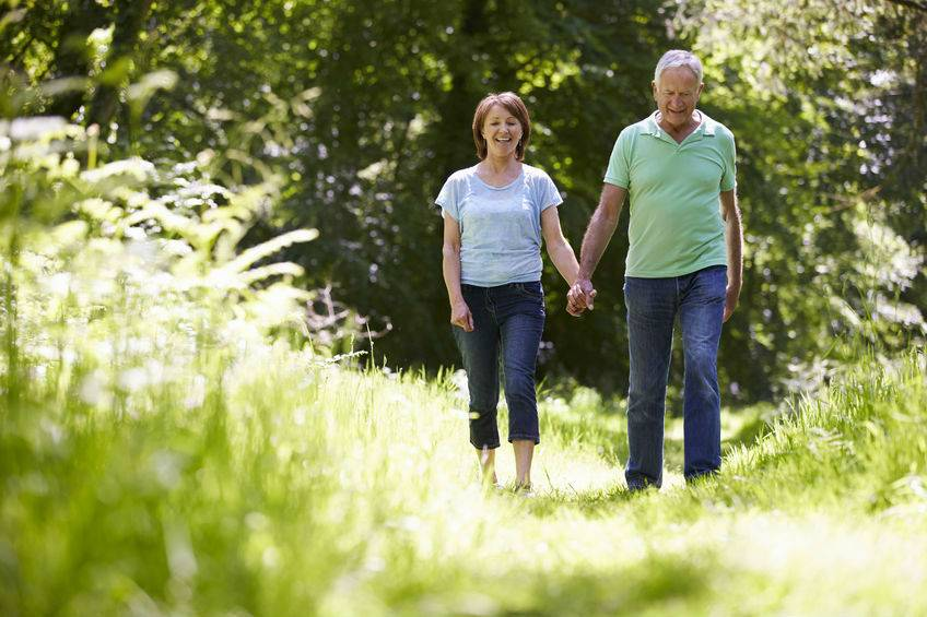 An elderly man and woman are walking through the country side holding hands