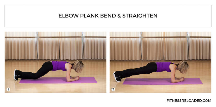 plank variation - elbow plank bend and straighten