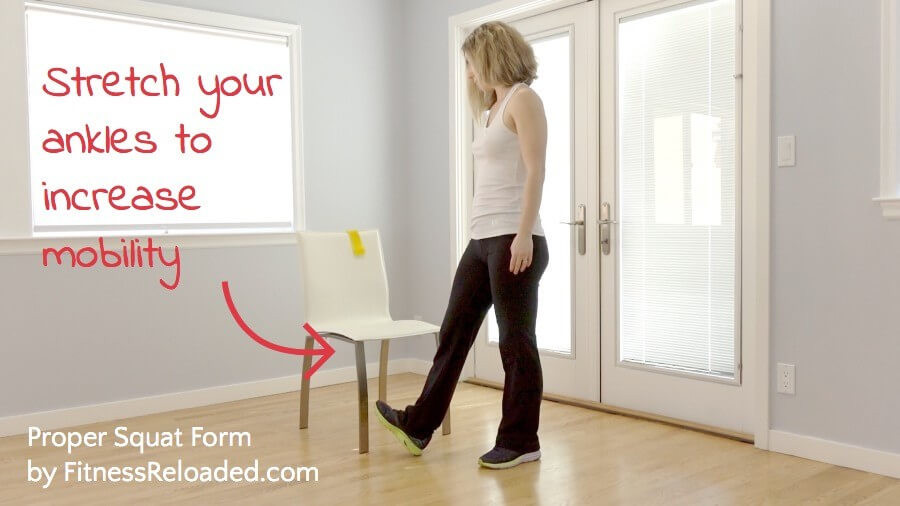 Stretch your ankles to increase mobility on squats