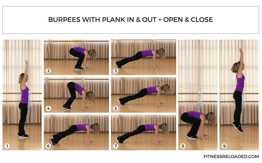burpees exercise in and out open and close