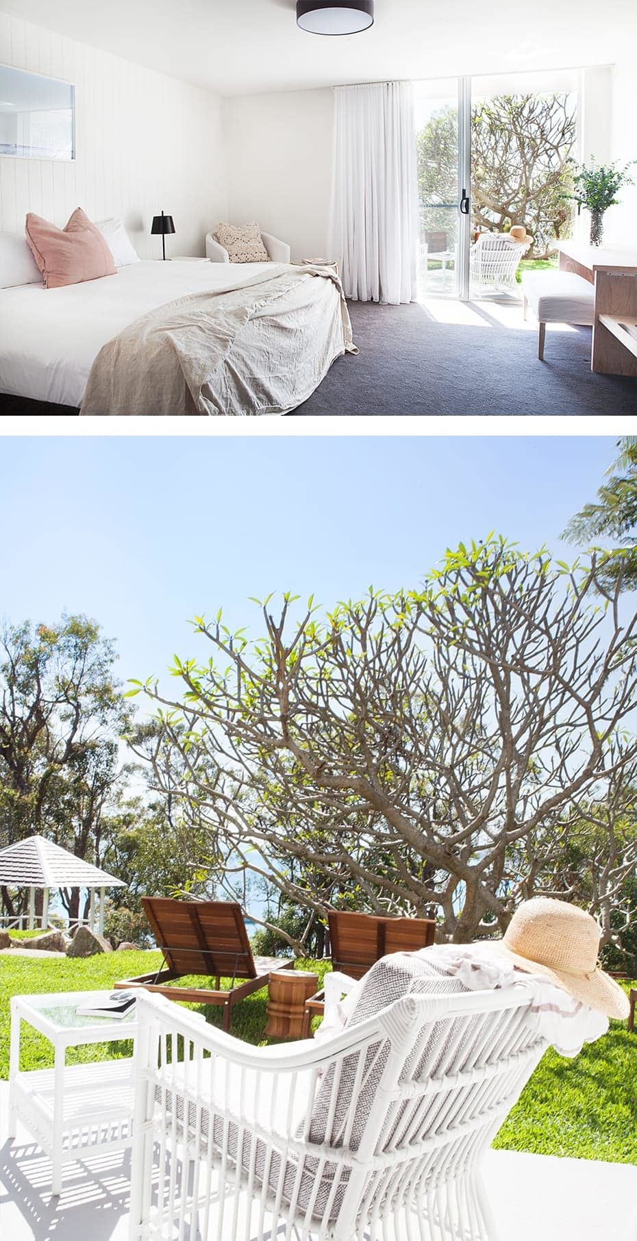 top image of hotel suite with view out to garden. bottom image of outdoor furniture on green grass