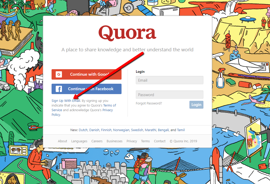 quora signup page